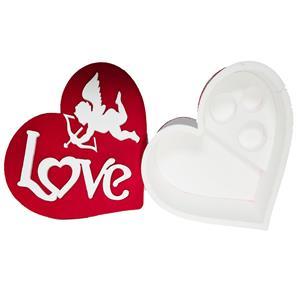 6086 - Confezione Cuore Polistirolo Love Rosso