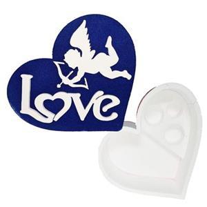 6102 - Confezione Cuore Polistirolo Love Blu