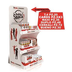 6608 - Ferrero Expo Snack Pz.234 Bueno 1x30 Cereali x72 Maxi x36 Kinder Sorpresa x48 Pocket Coffee T.5x32 Ferrero Rocher T.3x16