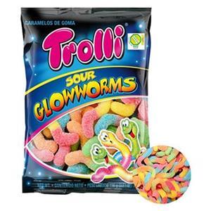 Trolli Sour Glowworms Zuccherata Busta Gr.100 Pz.12