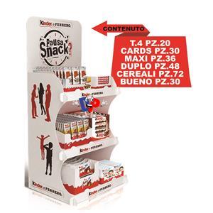 5100 -  FERRERO EXPO SNACK PZ.236 T.4 PZ.20 CARDS PZ.30 MAXI PZ.36 DUPLO PZ.48 CEREALI PZ.72 BUENO PZ.30